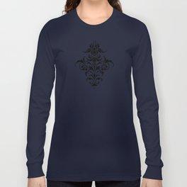 Damask Pattern | Black and White Long Sleeve T-shirt
