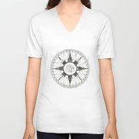 compass V-neck T-shirts featuring Compass by Smokacinno