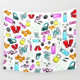 Work Out Items Pattern Wall Tapestry