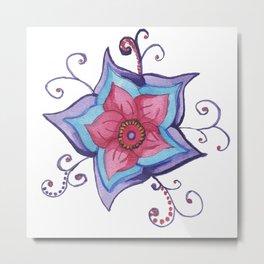 Watercolor Whimsy Flower Metal Print