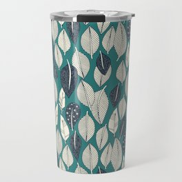 leaves and feathers teal Travel Mug
