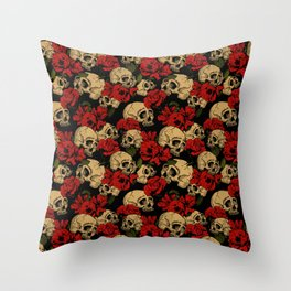 Skull and Roses Pattern Throw Pillow