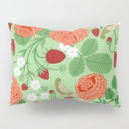 Roses and strawberries on green Pillow Sham