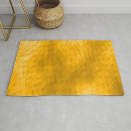 Line texture of orange oblique dashes with a dark intersection on a luminous charcoal. Rug