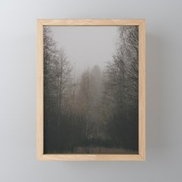 Foggy dark morning Framed Mini Art Print