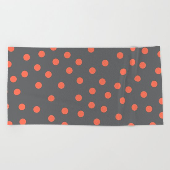 Simply Dots Deep Coral on Storm Gray Beach Towel