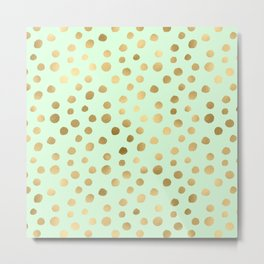Mint Green & Gold Polka Dot Pattern Metal Print