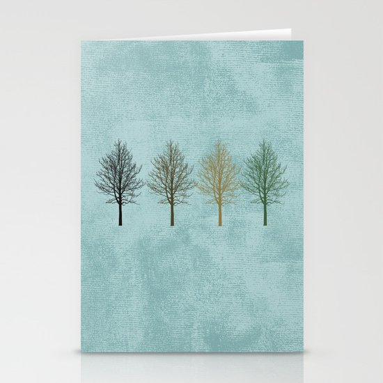 Four Colors Trees Stationery Cards