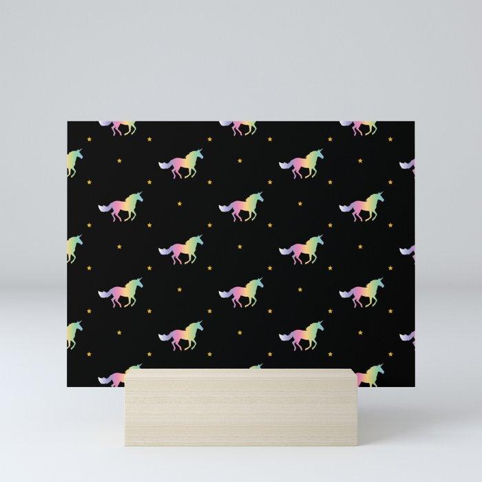 Rainbow Unicorns & Stars Mini Art Print