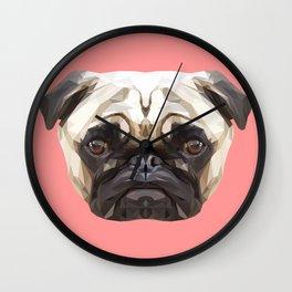 Pug // Pink Wall Clock