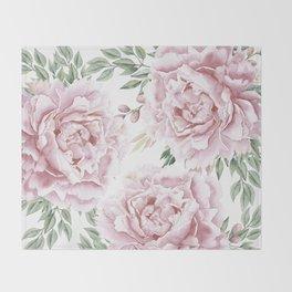 Girly Pastel Pink Roses Garden Throw Blanket