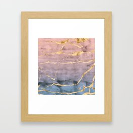 Watercolor Gradient Gold Foil Framed Art Print