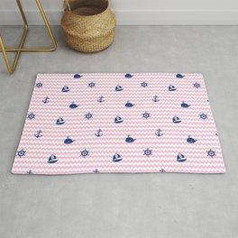Nautical Navy Blue Pink Chevron Baby Girl Nursery Rug