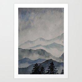 foggy landscape watercolor Art Print