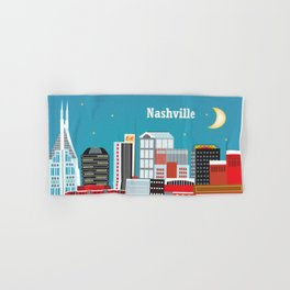 Nashville, Tennessee - Skyline Illustration by Loose Petals Hand & Bath Towel