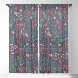 Party Lightbulb Pattern Sheer Curtain