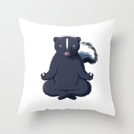 Skunk Meditated  Throw Pillow