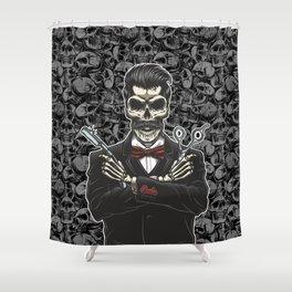 Barber Skull Gentlemen Shower Curtain