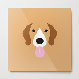 Beagle Minimalist Dog Illustration Metal Print