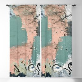 13th and Grant: an abstract mixed media piece in peach green blue and white Blackout Curtain