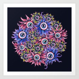 The Devil's Flower Garden - Demonic Eyeball Flowers Art Print