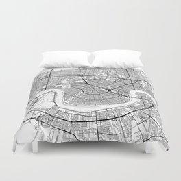 New Orleans Map White Duvet Cover