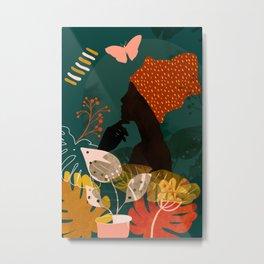 mid century black summer garden Metal Print