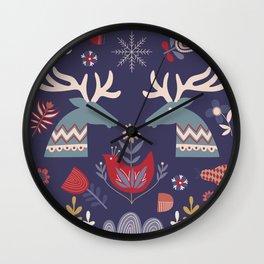 REINDEER AND FLOWERS Wall Clock