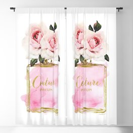Pink Peony, Make up, Pink, gold, Perfume, Perfume bottle, with flowers, Blush Pink, Roses Watercolor Blackout Curtain