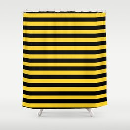 Black and Yellow Honey bee Stripes Shower Curtain