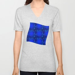 Sea explosive pattern of rhombuses and squares at the depth of the blue ocean. Unisex V-Neck