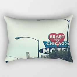 Heart 'O' Chicago Motel (Day) ~ vintage neon sign Rectangular Pillow