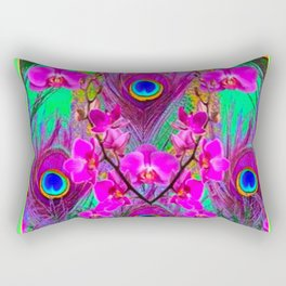 Pink Blue Green Peacock Feathers Lavender Orchid Patterns Art Rectangular Pillow