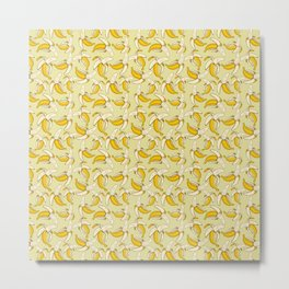 Summer Yellow Banana Fruit Pattern on Warm Beige Metal Print