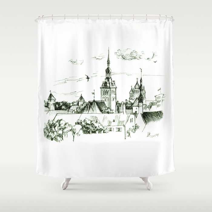 Medieval Landscape Shower Curtain By Lafifa
