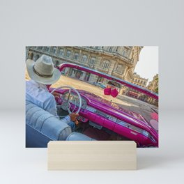 Pink taxi ride in Old Havana Mini Art Print