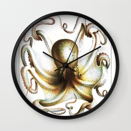 Vintage antique kraken octopus nautical steampunk Victorian book sea monster creature art print Wall Clock