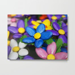 Colored sugared almonds as petals Metal Print