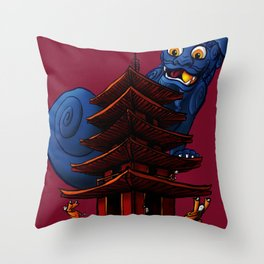 a Dog a Panic in a Pagoda Throw Pillow