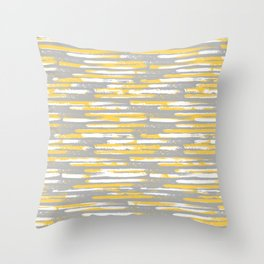 Colorful Stripes, Abstract Art, Yellow and Gray Throw Pillow