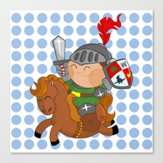 little knight with his horse Canvas Print
