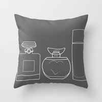 perfume Throw Pillows featuring Perfume by Illustrated by Jenny
