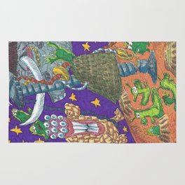 Alien May Day & Fire  Frogs Rug