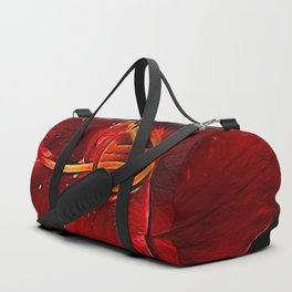 Red Lily On Black Duffle Bag