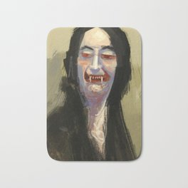 Smug aristocrat close up halloween vampire caricature digital illustration painting Bath Mat