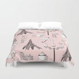 Paris Girl - Pink Duvet Cover