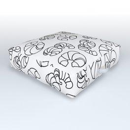 Croissants in Space Outdoor Floor Cushion
