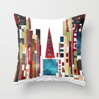 buildings Throw Pillows featuring Buildings by March Hunger