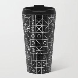 Black and White Random Grid Travel Mug