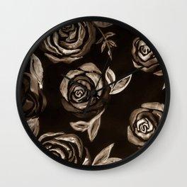 Rose Pattern - Raw umber brown tones Wall Clock